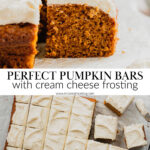 A pin to share the recipe for homemade pumpkin bars.