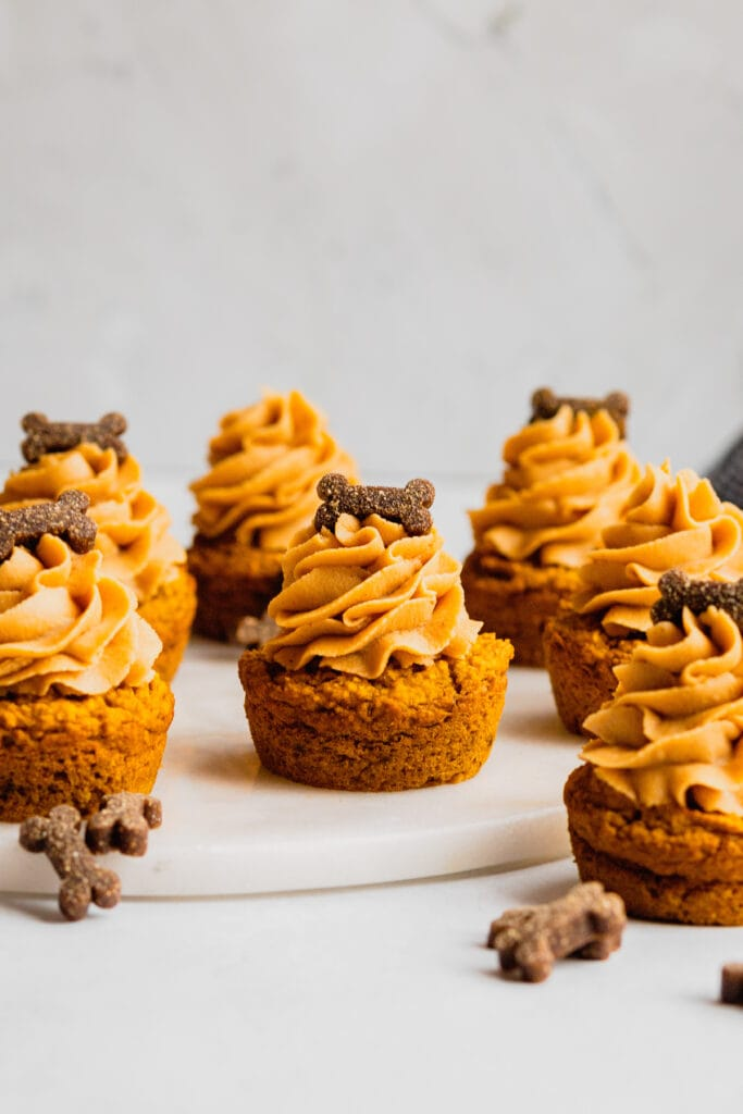 A white marble tray holds a batch of peanut butter frosted pupcakes. They are garnished with small bone-shaped dog treats.