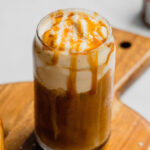 A pin to share the recipe for salted caramel cold foam cold brew coffee