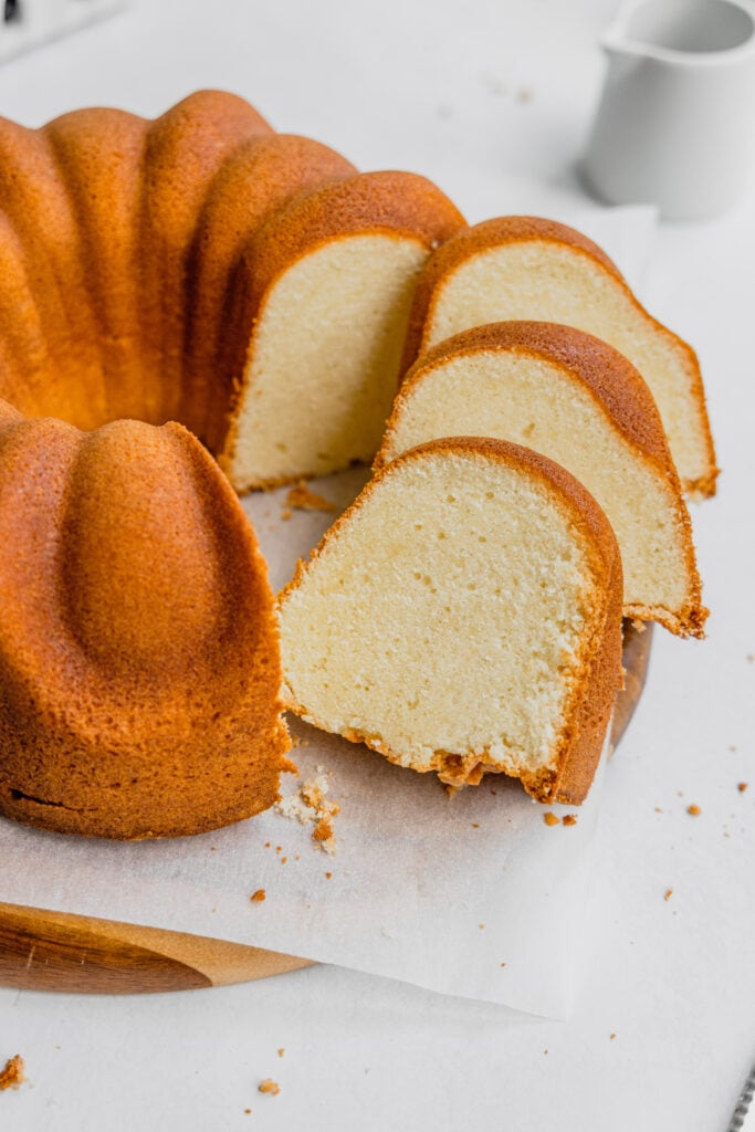 Three slices of pound cake layered on top of one another.
