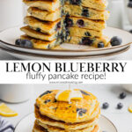 A pin to share the recipe for lemon blueberry pancakes