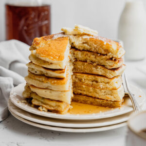 Buttermilk Pancakes on a white plate.