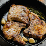 A pin to share the recipe for bourbon brined pork chops